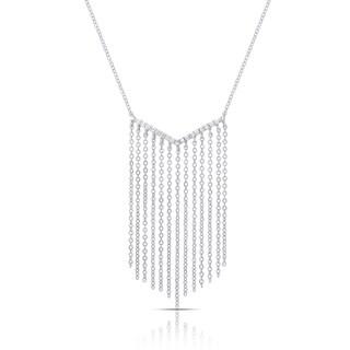 Samantha Stone Sterling Silver Cubic Zirconia Bib Necklace
