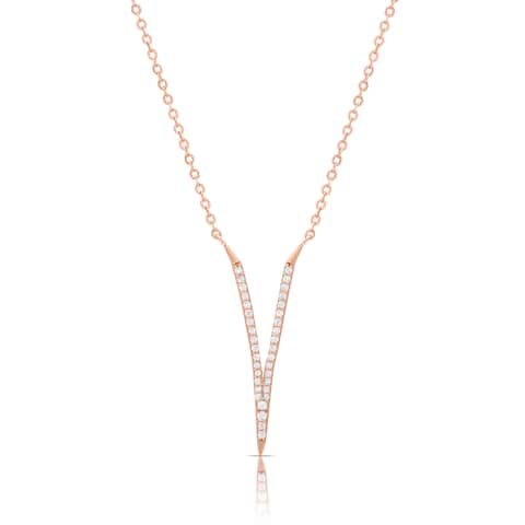 Samantha Stone Rose Gold Over Silver or Sterling Silver Cubic Zirconia V Necklace