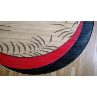 Bamboo Black, Tropical Leaf, or Red Area Rug (6' Round)