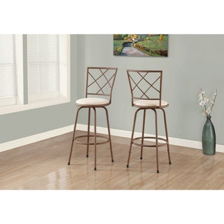Brown and Beige Upholstered Metal Barstools (Set of 2)