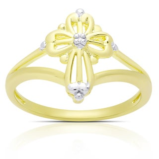 Finesque Gold Over Sterling Silver Diamond Accent Cross Ring (I-J, I2-I3)