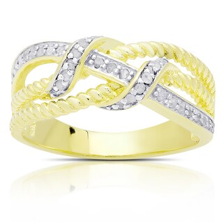 Finesque Gold Over Sterling Silver 1/4ct TDW Diamond Twist Ring