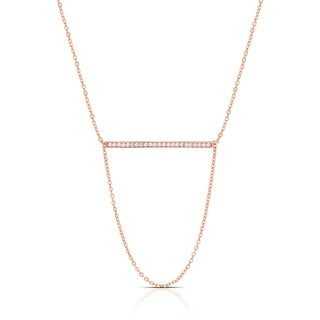 Samantha Stone Rose Gold Over Silver or Sterling Silver Cubic Zirconia Bar Necklace