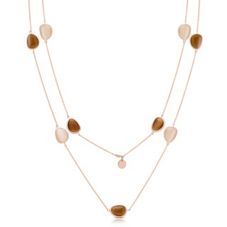 Samantha Stone Rose Gold Over Sterling Silver Simulated Cat's Eye Necklace
