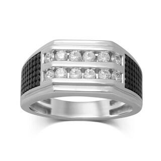 Unending Love Men's 10k White Gold 3/4-carat TW (IJ I2-I3) Diamond 2-row Channel-set Ring