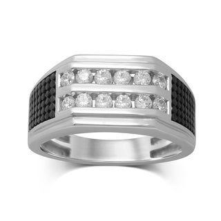 Unending Love Men's 10k White Gold 3/4-carat TW (IJ I2-I3) Diamond 2-row Channel-set Ring