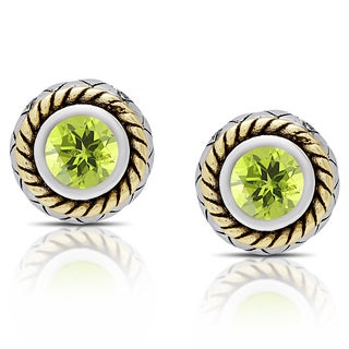 Dolce Giavonna Sterling Silver Peridot Circle Stud Earrings