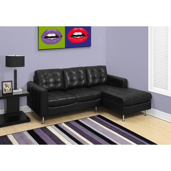 Black Bonded Leather Sofa Lounger