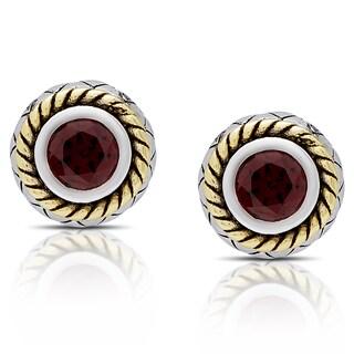 Dolce Giavonna Sterling Silver Garnet Circle Stud Earrings