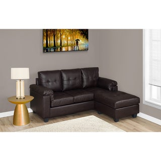 Dark Brown Bonded Leather Sofa Lounger