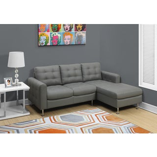 Light Grey Bonded Leather Sofa Lounger