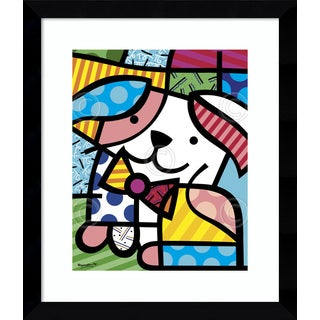 Framed Art Print 'Ginger (Dog)' by Romero Britto 12 x 14-inch