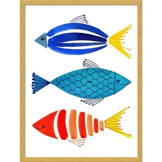 Framed Art Print 'Summer Fish Trio' by Margaret Berg 19 x 25-inch