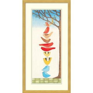 Framed Art Print 'It Takes a Village I: Birds' by Sarah Faulkner 13 x 25-inch