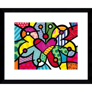 Framed Art Print 'Heart Butterfly' by Romero Britto 17 x 14-inch
