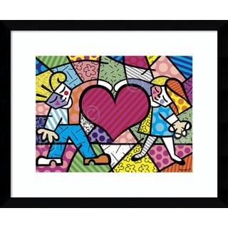 Framed Art Print 'Heart Kids' by Romero Britto 17 x 14-inch