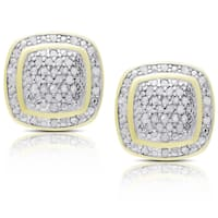 Finesque Gold or Rose Gold Over Sterling Silver 1/2ct TDW Diamond Square Stud Earrings