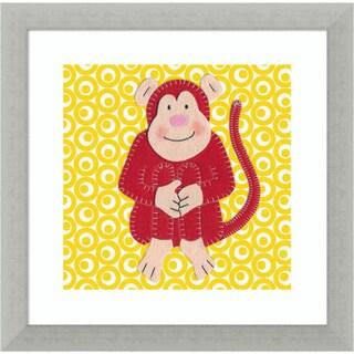 Framed Art Print 'Cheeky Monkey' by Catherine Colebrook 12 x 12-inch