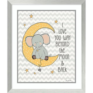 Framed Art Print 'To the Moon Elephant' by Jo Moulton 22 x 26-inch