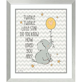 Framed Art Print 'Twinkle Love Elephant' by Jo Moulton 22 x 26-inch