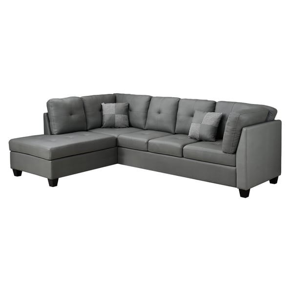 Light Grey Bonded Leather Sofa Sectional