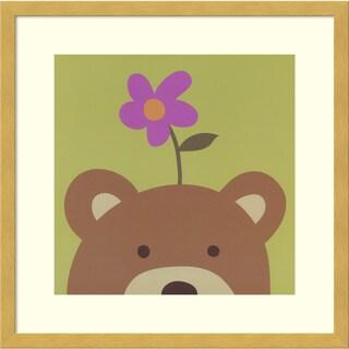 Framed Art Print 'Peek-a-boo VI - Bear' by Yuko Lau 17 x 17-inch