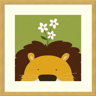 Framed Art Print 'Peek-a-Boo Lion' by Yuko Lau 17 x 17-inch