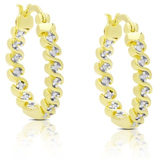 Finesque Gold Over Silver or Sterling Silver 1/4ct TDW Diamond S Design Hoop Earrings