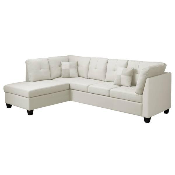 Fabulous Ivory And White Bonded Leather Sectional Sofa Creativecarmelina Interior Chair Design Creativecarmelinacom