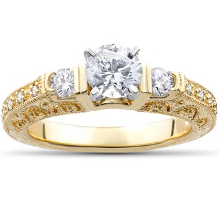 14k Yellow Gold 1 1/3ct TDW Eco-Friendly Lab Grown Vintage Filigree Diamond Engagement Ring