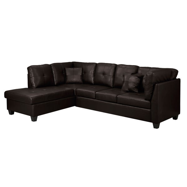 Dark Brown Bonded Leather Sofa Sectional
