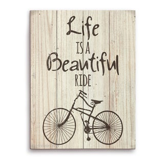 Gris 'Life is a Beautiful Ride' Wood Wall Graphic