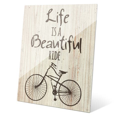 'Life is a Beautiful Ride - Gris' Acrylic Wall Graphic