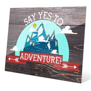 'Say Yes To Adventure' Red Wall Graphic on Glass