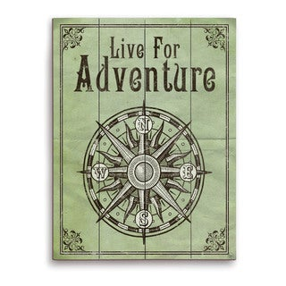 'Live For Adventure Green' Wall Graphic on Wood