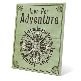 'Live For Adventure Green' Metal Wall Graphic