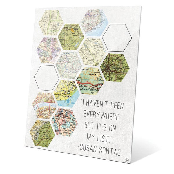 'Hexagon Maps On My List' Glass Wall Graphic
