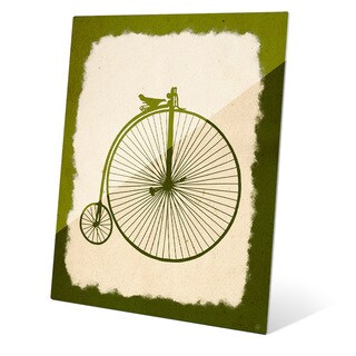 Penny Farthing on Parchment Olive' Multicolored Glass Wall Graphic
