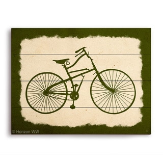 'Bicycle on Parchment Olive' Wood Wall Graphic
