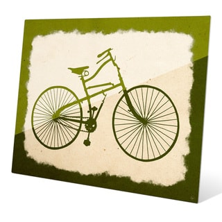 'Bicycle on Parchment Olive' Wall Graphic on Glass