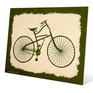 'Bicycle on Parchment Olive' Wall Graphic on Metal