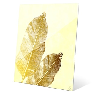'Gold Tropical Leaves on Daffodil' Glass Wall Graphic