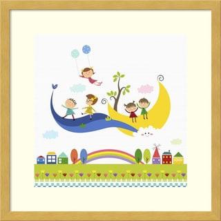 Framed Art Print 'Happy children enjoying their time V' by Jiyeong Na 17 x 17-inch