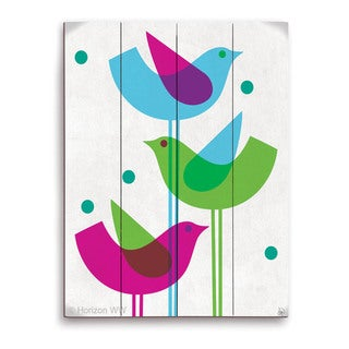 'Retro Blue Green And Purple Stacked Birds' Wood Wall Graphic