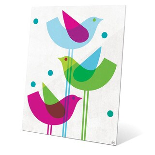 'Retro Blue Green And Purple Stacked Birds' Wall Graphic on Glass