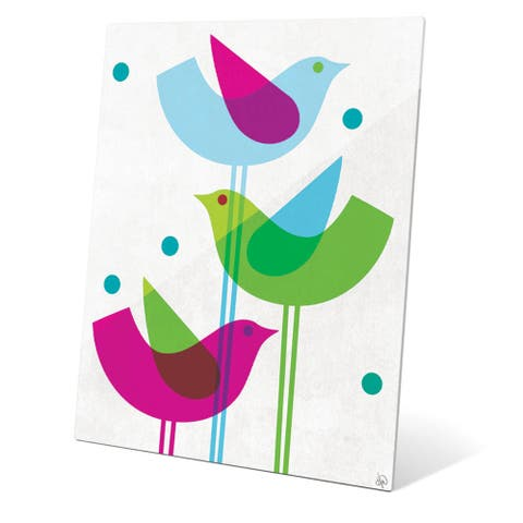 Retro Blue Green and Purple Stacked Birds' Acrylic Wall Graphic