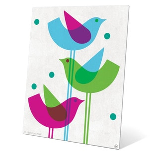 Retro Stacked Birds Wall Graphic on Metal