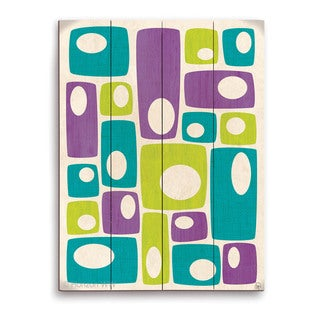 'Retro Bizarre Teal Green And Purple Stacks' Wall Graphic on Wood