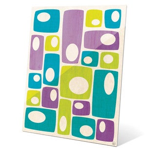 'Retro Bizarre Teal Green And Purple Stacks' Glass Wall Graphic