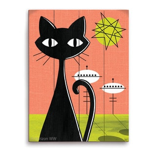 'Retro Red And Yellow Space Colony Cat' Wooden Wall Graphic